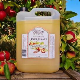 SLUTSÅLD - 2p Linoljesåpa Äpple & Kanel 5 liter